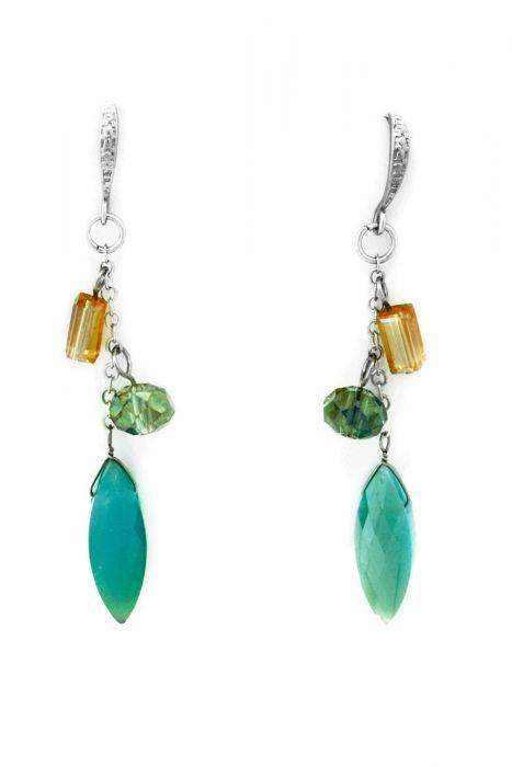 Iridescent Beads Dangle Earrings | Nickel Free & Hypoallergenic Earrings