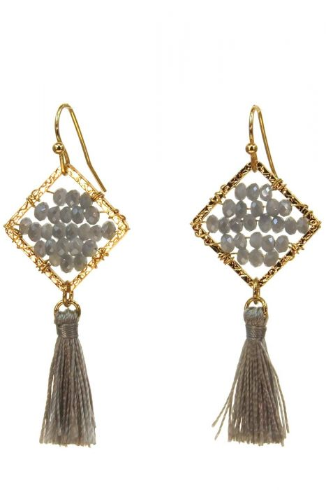 Gold and Grey Tassel Earrings | Gold Plated Dangle Earrings |