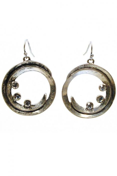 Gold Plated and Rhodium Crystal Swirl Dangle Earrings | Hypoallergenic and Nickel Free