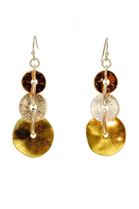 Funky Textured Drop Earrings | Gold Plated and Sterling Silver |