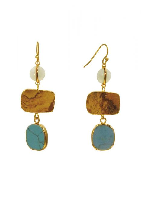Treasured Stones Earrings | Gold Plated and Hypoallergenic