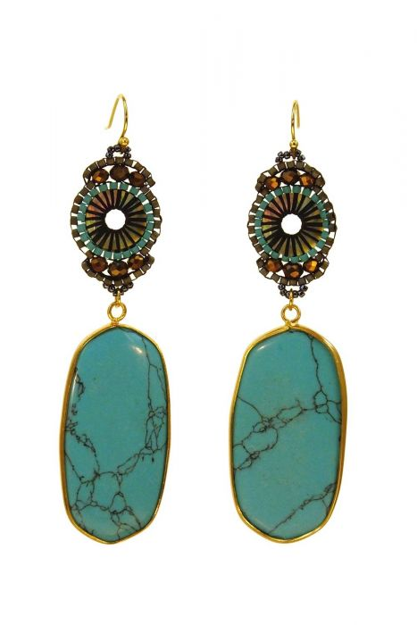 Artisan Turquoise Earrings | Gold-Plated with an Intricately Beaded Design