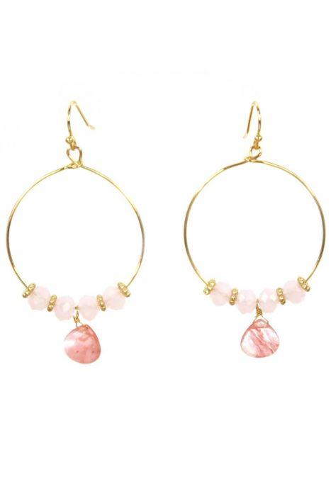 Natural Stone Beaded Loop Earrings | Organic Stone Hoop Earrings