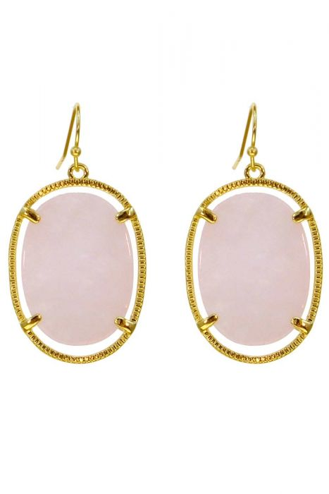 Chalcedony Stone Gold-Plated Earrings | Natural and Hypoallergenic