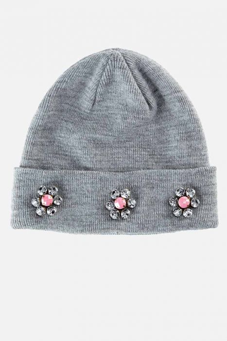 Beaded Flower Beanie for Girls
