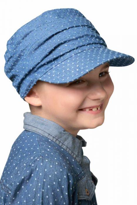 Kids Denim Eyelet Tenley Newsboy Hat | Girls Chemo & Alopecia Hats Ultra Petite Sized Denim Eyelet