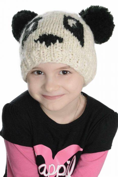 Panda Beanie Hat for Children with Pom Pom Ears