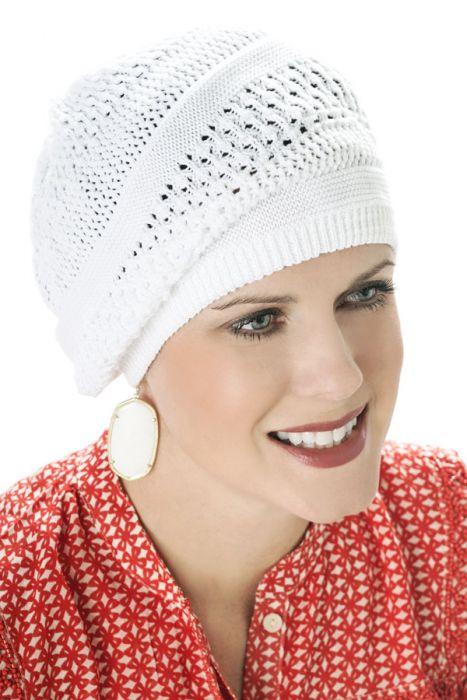 All Cotton Lace Keyhole Beret