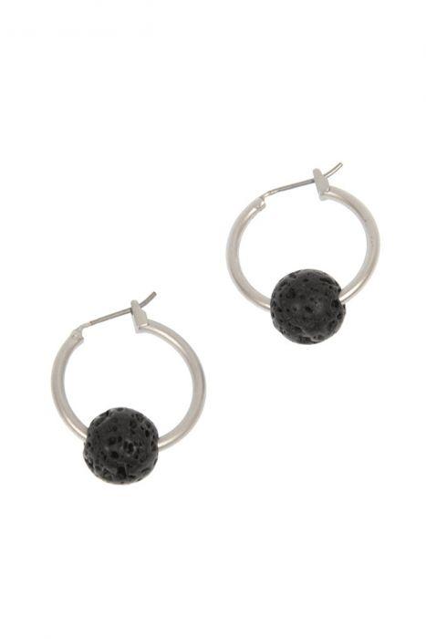 Lava Stone Hoop Earrings   Nickel & Lead Free Earrings