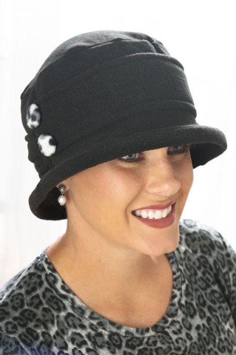 Fleece Double Button Cloche Hat