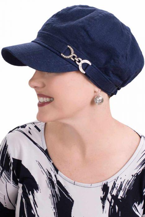 Linen Brielle Newsboy Cap for Large Heads | Newsboy Hat for Women