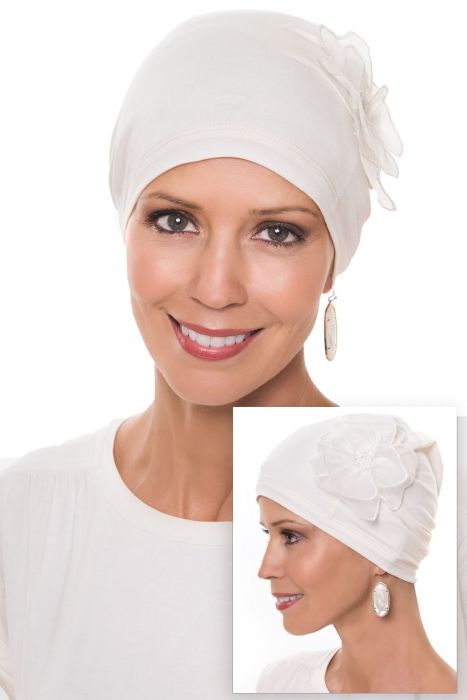 Cardani Lotus Beanie Hat | Day or Sleep Cap | Bamboo Viscose Sleeping Cap for Women