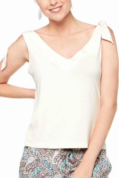 Lyla Shirt by Cardani | Womens Viscose from Bamboo Tank Top with Ties