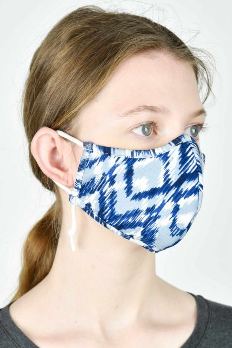Clearance Colors | Bamboo Face Mask with Filter Pocket | Blue Chevron