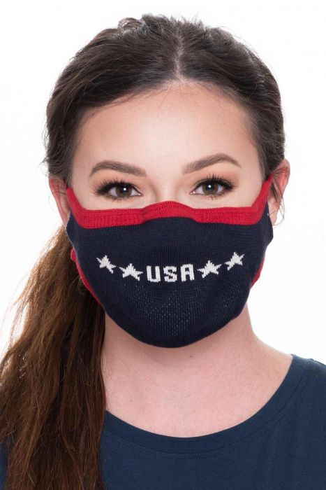 Patriotic USA Face Mask | Knitted Cotton American Flag Face Mask by Parkhurst