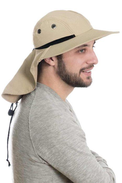 Mens Flap Hat - Sun Protection Outdoor Brimmed Hat for Men
