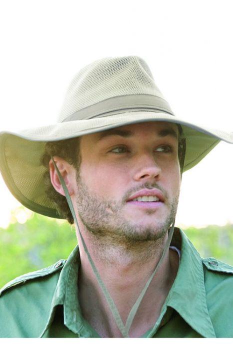 Mens Safari Supplex Hat  - Sun Protection Brimmed Outdoor Hat
