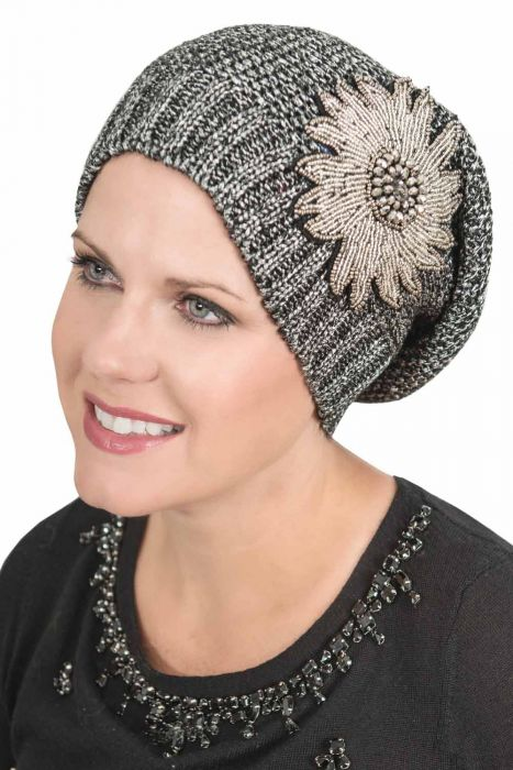 Metallic Slouchy Beanie Cap - Embellished Slouch Hat for Women
