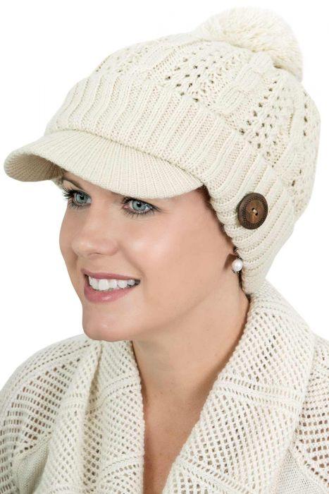 Mod Peak Hat - Knitted Brimmed Pom Pom Beanie
