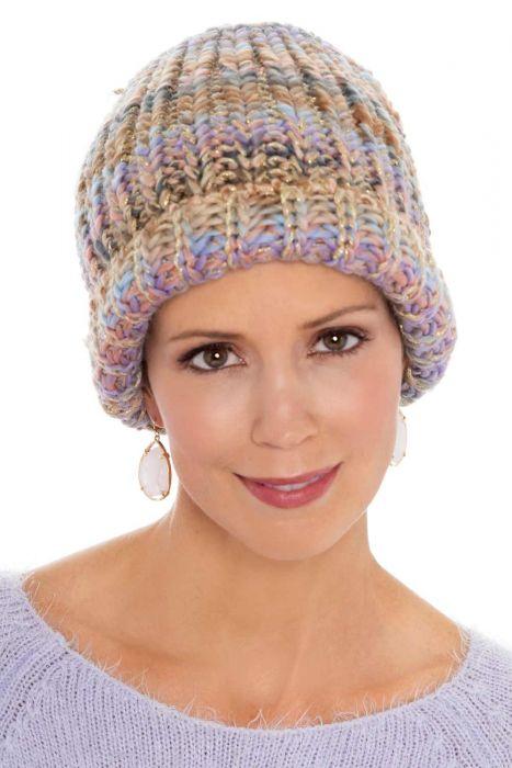 Multi Metallic Knit Slouchy Beanie   Cute Winter Hats for Women