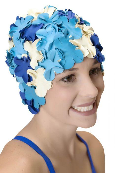 Retro Petal Swim Cap | Vintage Flower Bathing Cap | Swimming Hat by Sync Ocean Splash