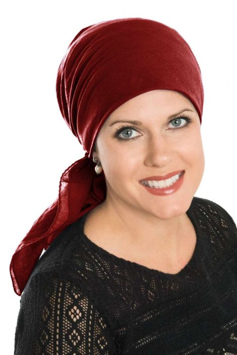 Large Cotton Square Head Scarf in Burgundy | Solid Oversized 100% Cotton Headscarves