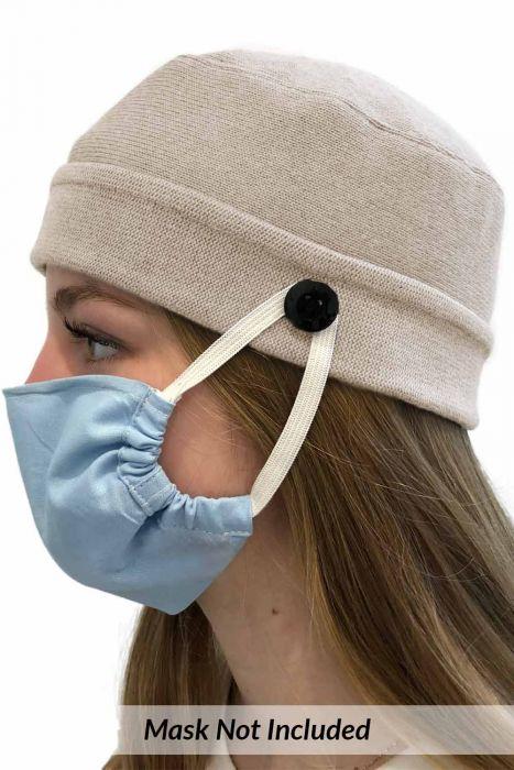 Face Mask Holder Button Beanie | Unisex Parkhurst Cotton Knit Cap