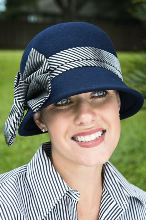 Pinstripe Bow Cloche Hat