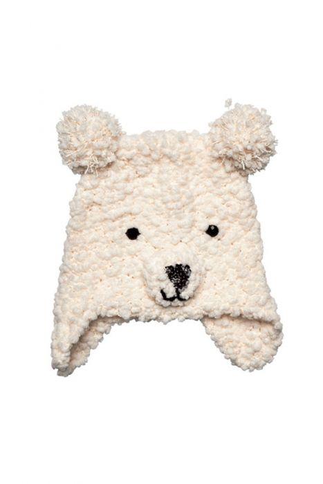Plush Jeweled Polar Bear Beanie for Kids