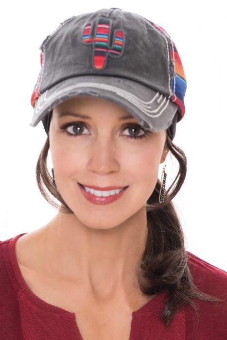 Sunset Cactus Distressed Baseball Cap | Baseball Caps for Women