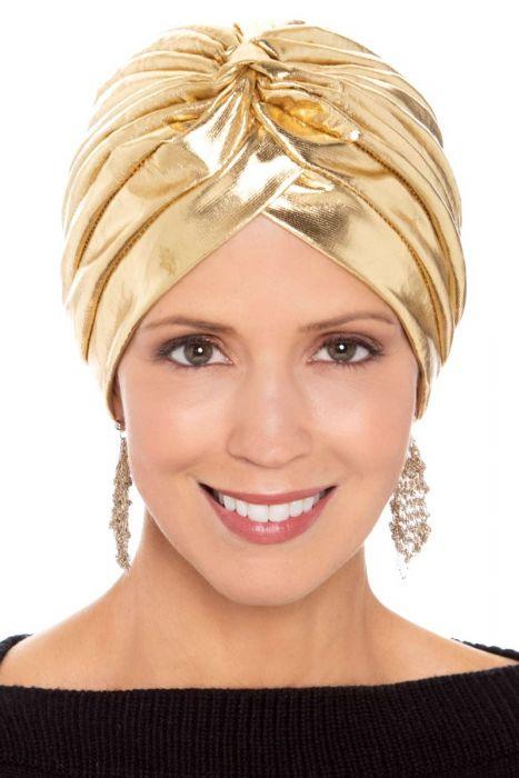 Queenie Metallic Turban   Stylish Turbans for Women