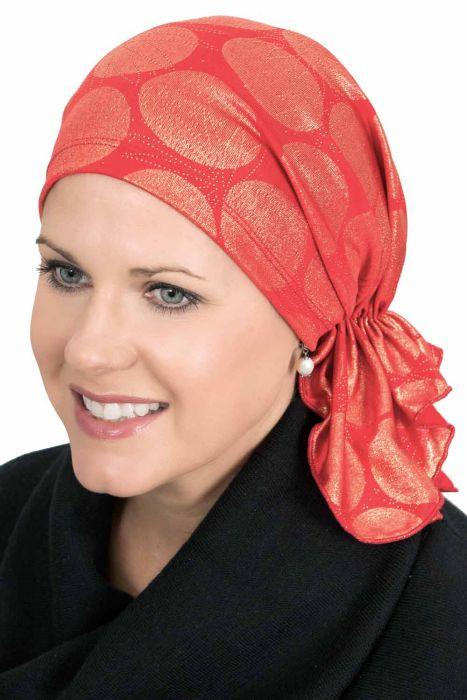 Slip-On Slinky Headwrap Pre-Tied Scarf | Holiday | Red Metallic