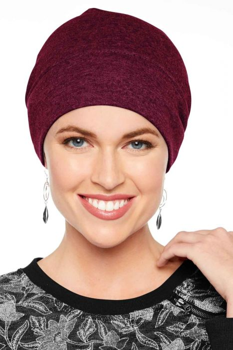 100% Cotton Relaxed Beanie Cap in Holiday Burgundy Wine | Beanies for Women