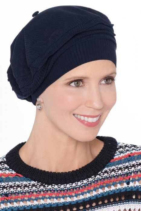 Cardani® Triumph Beret in Silky-Soft Ribbed Bamboo Viscose    Classic French Beret