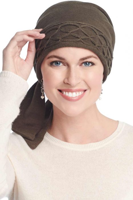 Short Tail Cableknit Scarf | Pure Cotton Knitted Head Wrap