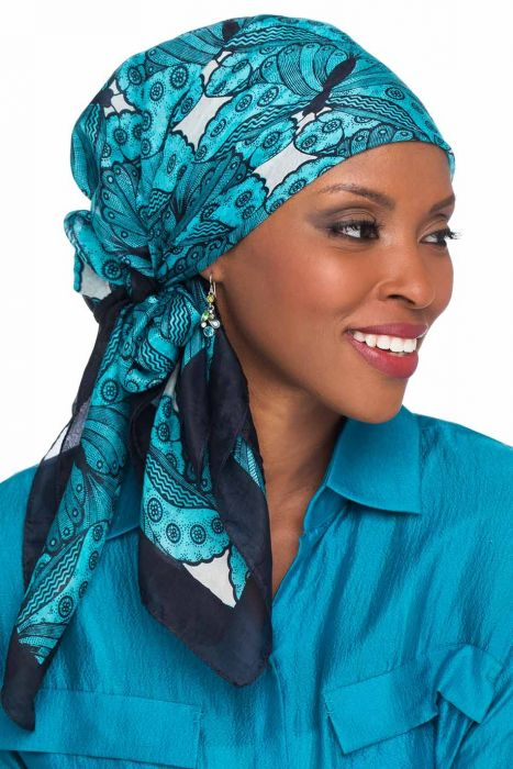 100% Silk Head Scarf - Classic Butterfly Print - 35 inch Square