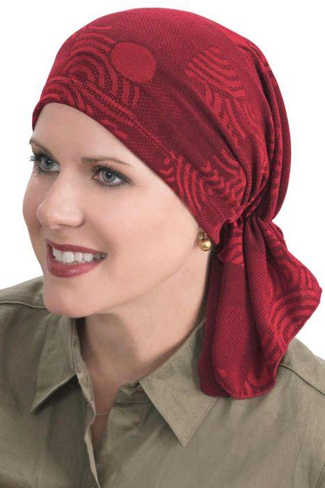Slip-On Slinky Headwrap Pre-Tied Scarf | Holiday Cabernet Swirls Cabernet Swirls Cabernet Swirls