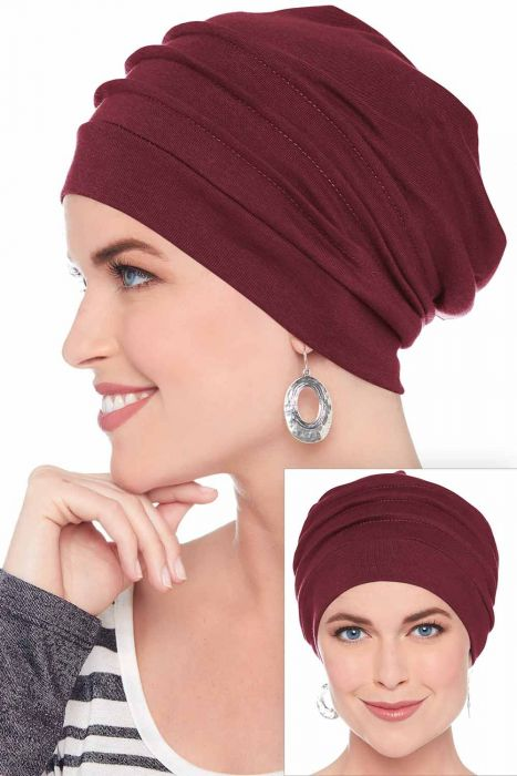 Slouchy Snood Hat in Holiday Burgundy Wine | 100% Cotton Slouchy Beanie Hats for Women Burgundy Wine