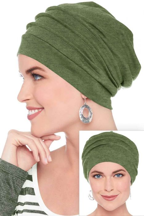 Slouchy Snood Hat in Olive Heather | 100% Cotton Slouchy Beanie Hats for Women