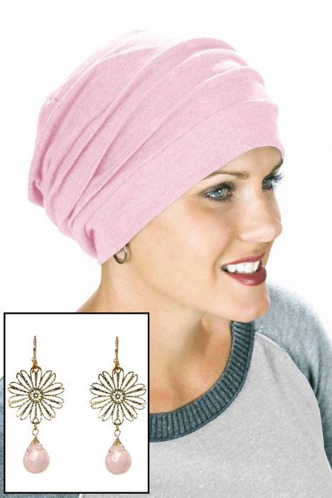 Cotton Slouchy Snood with Matching Stainless Steel Earrings | Value Gift Set