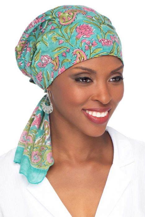 Woodblock So Simple Scarves™   Pre-Tied Scarf in Hand-Stamped 100% Cotton Prints