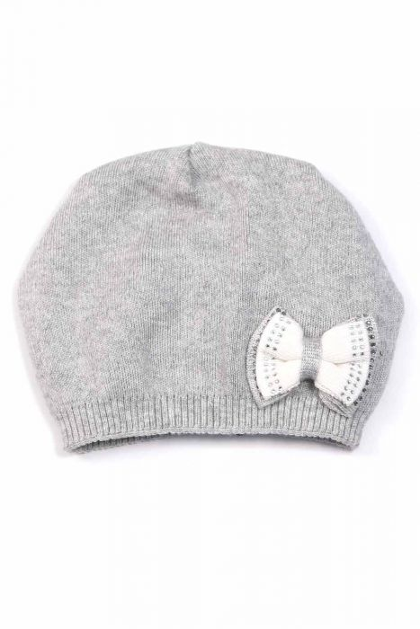 Sparkle Bow Slouch Beanie Hat | Soft Wool Blend Knit Cap