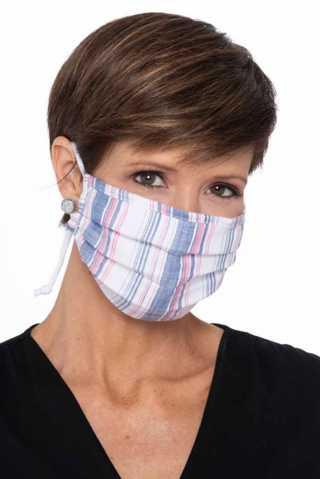ACCORDION Face Mask | Woven Blue and Pink Stripes | Woven Cotton - Blue and Pink Stripes