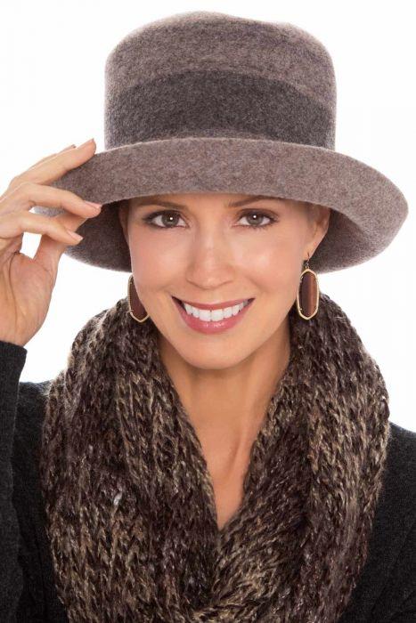 Striped Wool Kettle Brim Hat   Winter Hats for Women