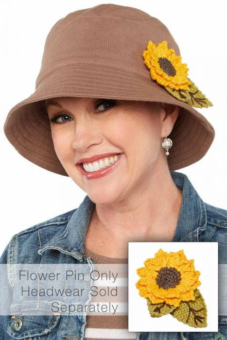 Hand Crocheted Sunflower Pin | Hat Accessory | Hat Pin