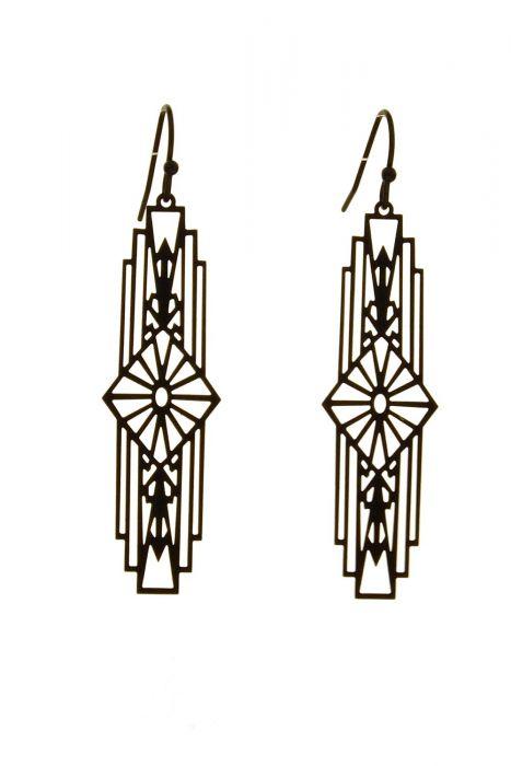 Surgical Steel Earrings   Black Art Deco Drop Earrings