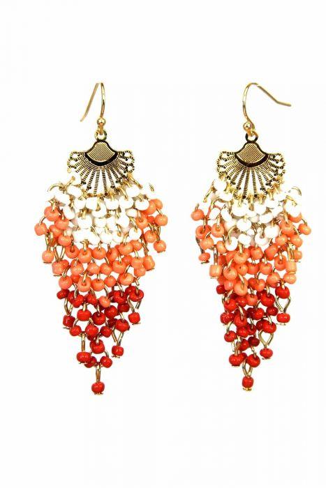 Coral Sunset Beaded Earrings   Surgical Steel Earrings