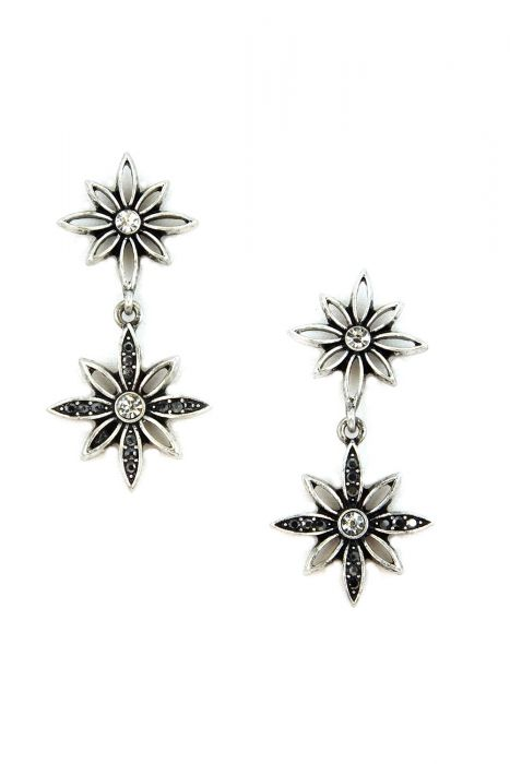 Surgical Steel Earrings | Double Drop Zircon Flowers
