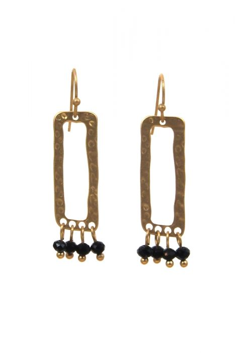 Surgical Steel Earrings | Rectangle with Drop Crystals |