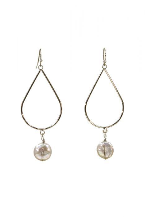 Surgical Steel Earrings | Silver Teardrop with Drop Pearl Earrings